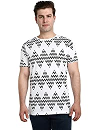LNDN HOUR Half Sleeves New Divine Stylish Allover Print, Round Neck Cotton Tshirt, Latest High Quality Fashion Garments For Mens / Boys. Whte Colour
