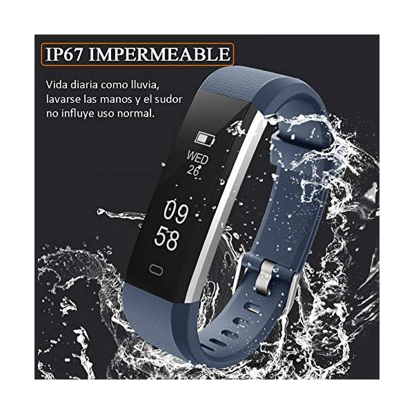 Pulsera de Actividad Inteligente, Sumergible Reloj Deportivo IP67 Smartwatches Cómodo con Pantalla Táctil Longitud… 4