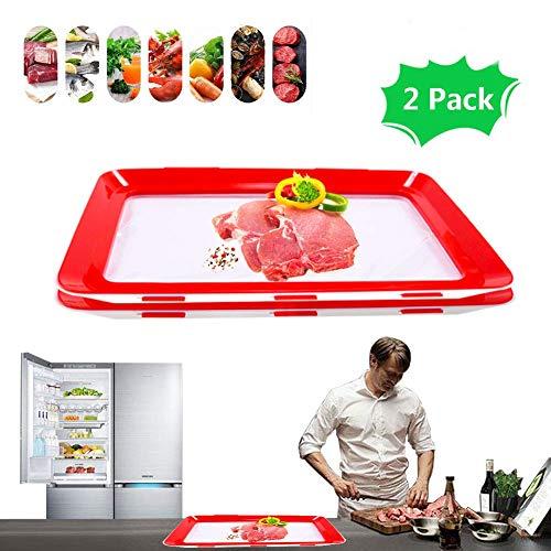Essen Frisch Tablett, GHONLZIN Tablett für die Lebensmittelkonservierung Aufbewahrungsbehälter für Lebensmittel zum Frischhalten von Lebensmitteln (2 pieces)