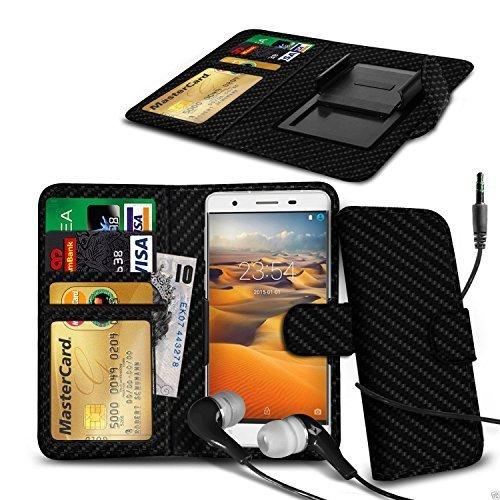 N4U ONLINE - Clip Kunstleder Hülle Tasche und Kopfhörer für Meizu Pro 5 Mini - Verschiedene Farben - Karbonfaser