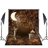 Ycnet Halloween fotografia sfondo personalizzato pieghevole cotone horror Moonlight Bats grave Outdoor fondali foto puntelli sfondo per fotografi
