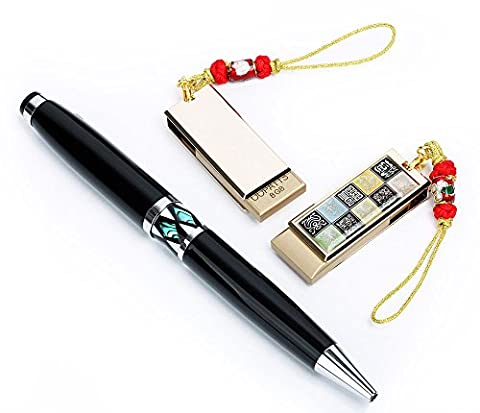 SET DUO DECOR NACRE Cle USB 8GB Samsung 2.0 + Stylo Noir Retractable LOSANGEGermany Ink Ball Point CARACTERES CHINOIS - Design Inchiostro Cinese