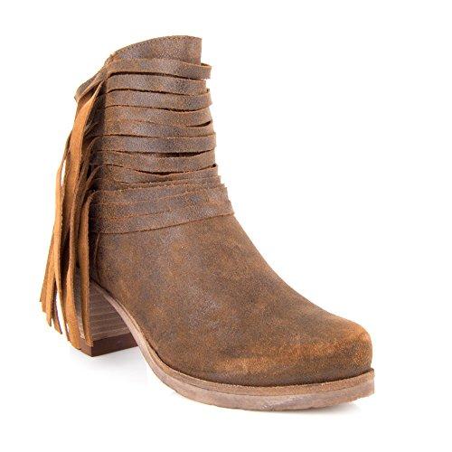 Felmini-Scarpe da donna, design Falling in Love with Califa 9255-sbandato-Stivaletti alla caviglia da uomo, in pelle scamosciata, colore: marrone, Marrone (marrone), 39