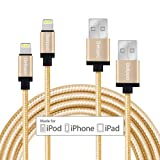 [2 Packe] iPhone Cable Delippo 3.3ft/1M Nylon Ummanteltes USB Kabel Datenkabel mit Blitz-Anschluss [Apple MFi Zertifiziert] für iPhone 6/6 Plus iPad Air 2 usw(Golden)