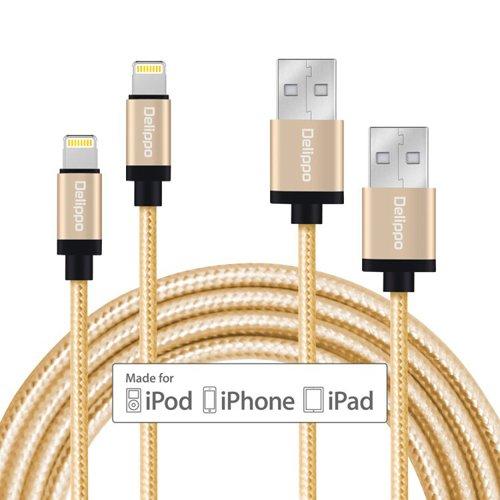 [2 Packe] iPhone Cable Delippo 3.3ft/1M Nylon Ummanteltes USB Kabel Datenkabel mit Blitz-Anschluss [Apple MFi Zertifiziert] für iPhone 6/6 Plus iPad Air 2 usw(Golden)