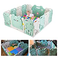 Bonnlo Extra Large Rubber Anti-Skid Baby Safety Play Playpen 14 Panels, Baby Playpen Kids Activity Center, with Locked Door Home Indoor Outdoor