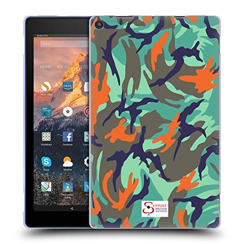 Official Support British Soldiers Blue Green Camo Soft Gel Case for Amazon Fire HD 10 (2017) Hd Green Camo