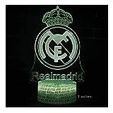 Luz de noche mágica 3D, luz del estado de ánimo, lámpara de mesa pequeña-7 colores luz mágica-Real Madrid equipo marca escultura-varios iluminación-lámpara de cabecera de la juventud