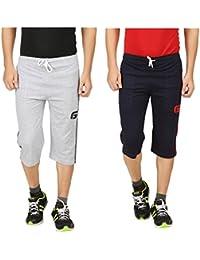 TIRUPUR GUIDEFASHION Mens Cotton Sports Night Capri Gray Navy Combo Style - 066