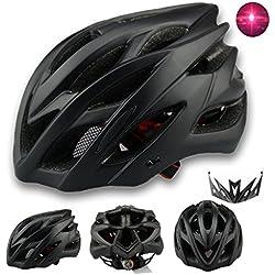 Adulto Hombre Mujer Casco Bicicleta con Luz LED Trasera Soft Cascos Ciclismo con Desmontable Visera Casco Bicicleta Carretera Bmx con 22 Respiraderos y Protección Insectos Ajustable Tamaño 57-62CM