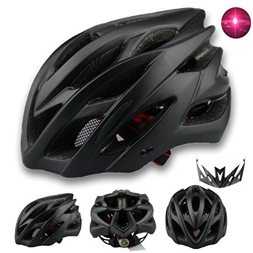 Damen Herren Fahrradhelm mit integriertes LED-Rücklicht und Sonnenblende, Matt Specialized Rennradhelm mit Insektenschutz, MTB fahrrad helm integral mit 22 Belüftungskanäle gr 57-62 Schwarz Matt
