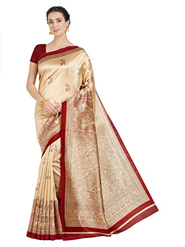 Oomph! Art Silk Saree With Blouse Piece (rbks_Beige_Free Size)