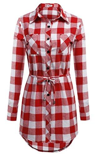 HOTOUCH Camicia Casual a Quadri Manica Lunga Blusa Elegante Cotone Sexy Ufficio V-collo T-shirt Maliga per Donna Typ1-Rotweiß