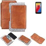K-S-Trade Lenovo Moto C LTE Gürteltasche Schutz Hülle Gürtel Tasche Schutzhülle Handy Smartphone Tasche Handyhülle PU + Filz, braun (1x)