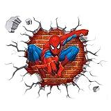 2PCS Spiderman Wandabziehbilder 3D Wandaufkleber für Kinderzimmer