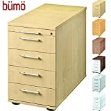 Bümö® Bürocontainer mit 5 Schüben & Schloss | Standcontainer aus Holz abschließbar | Container für Büro | Tischcontainer in 6 Dekoren (Ahorn)