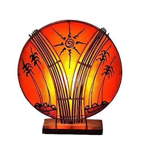 Deko-Leuchte Stimmungsleuchte Stehleuchte Tischleuchte Tischlampe Bali Asia PALME klein 36 cm Color Orange - Asiatische Tischleuchte