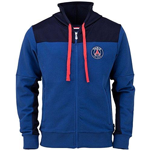 Felpa con cappuccio e cerniera PSG-Collezione ufficiale Paris Saint Germain-Taglia adulto uomo, Uomo, blu, L