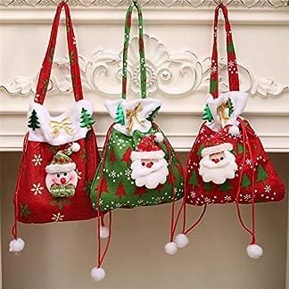 XIANGLIOOD 3 Piezas Bolsas Santa Claus Bolsas con Bolsas de Dulces con cordón para favores de Navidad