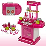 JVM Luxury Battery Operated Portable Kitchen Set for Girls, Pink