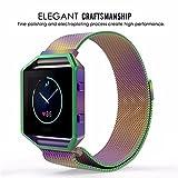 AUTOECHO Armband für Fitbit Blaze Band mit Regenbogen Milanese Magnetschleife Edelstahlarmband Uhrenarmband + Uhr Rahmen 23.5 cm Metallarmband für Frauen Männer