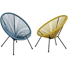 Autrefois 2 Chaises Oeuf 4 Pieds Design Acapulco Fils Jaune Bleu Petrole