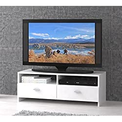 FINLANDEK Meuble TV HELPPO contemporain blanc mat - L 95 cm