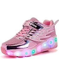 Mr.Ang zapatillas con ruedas zapatos del patín del rodillo de los niños los zapatos del deporte Malla de zapatos calzado transpirable