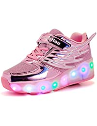 Mr.Ang niños y niñas LED coloridos luz rueda Roller Shoes Zapatos Zapatillas Deportivas patines zapatos con ruedas zapatillas Malla de zapatos calzado transpirable