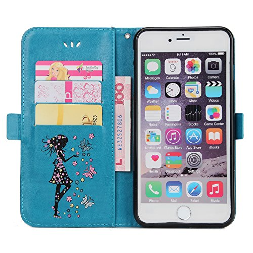 EKINHUI Case Cover Fairy Girl & Flowers Embossing Style Synthetik Leder Tasche Horizontale Flip Stand Brieftasche Tasche mit Lanyard & Card Slots für iPhone 6 Plus & 6s Plus ( Color : Blue ) Blue