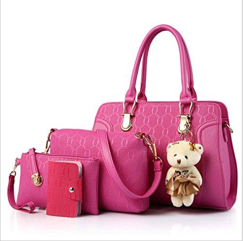 Borsa delle signore quattro insiemi borsa del messaggero del sacchetto del messaggero della borsa del raccoglitore della catena di tendenza della catena tendenza dell'unità PU Pink