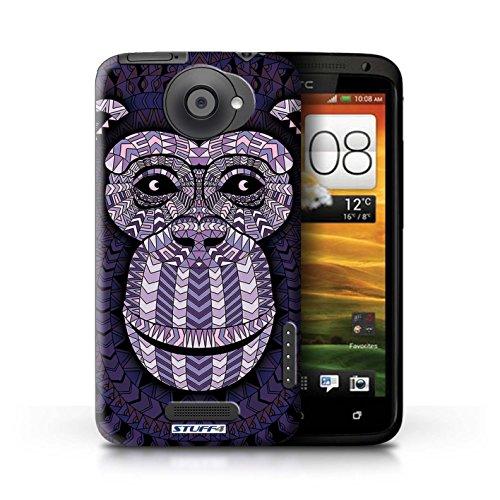 Kobalt® Imprimé Etui / Coque pour HTC One X / Singe-Pourpre conception / Série Motif Animaux Aztec Singe-Pourpre