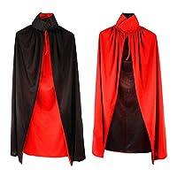 Kasstino Black Red Vampire Cape Reversible Dracula Devil Cloak Fancy Adult Costume Masquerade Party Halloween