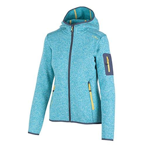 Fleecejacke Sondermodell Kiara Strickfleece Outdoor Jacke CMP für Damen mit Fleece-Innenausstattung und weicher Kapuze- Gr. 46, Curacao-Anice