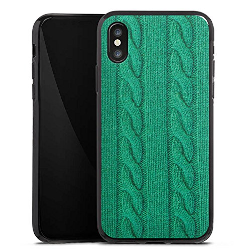 Apple iPhone X Silikon Hülle Case Schutzhülle Wolle Look Strick Grün Silikon Case schwarz