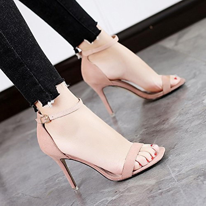 SUHANG Sandalen Sandalen Frauen Mit Schuhe Feinen Und Wilden High-Heel Schuhe Mit Geschlitzten Schnalle Mit Schwarzen Studenten 90092c