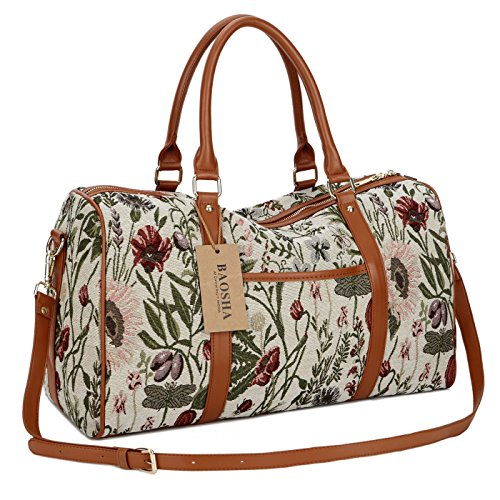 BAOSHA HB-29 Frauen Canvas Reisetasche Tote Handtaschen Weekender Handgepäck für Damen Mädchen Holdall Overnight Travel Duffel Bag (Leichte Blume) (Tote Canvas Weekender)