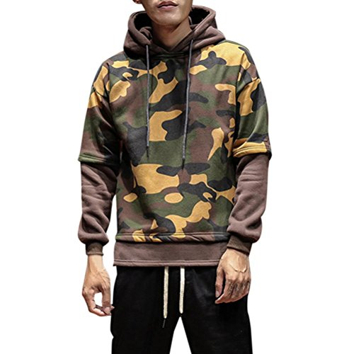 Rcool Männer Warm Camouflage Jacke Kapuzen Wintermantel Overcoat (M, Brown) (Pack-brown-t-shirts)