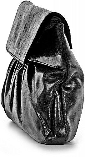 Pochette In Pelle Con Look Metallico Da Borse In Pelle Da Donna In Pelle Metallizzata Cntmp, Clutch, Clutch, Pochette, Borse Da Avambraccio, Borse Da Sera, Borse Alla Moda, Borsa In Pelle Metallizzata, 37x21x2, 5cm (nero), Nero