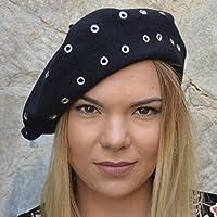 RACEU ATELIER Boina Niza Negra - Boinas Mujer - 100% Lana - Boina de Tipo cd84fd1d7a4