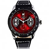 # 1Verkauf Winner Herren Elegante Auto Mechanische Armbanduhr Schwarz Lederband Tachos Datum Rot Zifferblatt