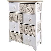 ts-ideen Cómoda estantería armario de madera estilo de la alquería rustico shabby para baño pasillo cocina sala blanco gris corazoncitos - Muebles de Dormitorio precios
