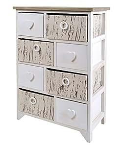 Commode couloir style de la ferme armoire de toilette shabby look vintage blanc c ur gris 8 - Armoire de toilette vintage ...