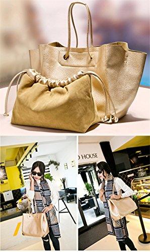 Frau Mädchen Einfache Stil Leder Umhängetaschen Henkeltaschen Schultertaschen Zwei Taschen(1 Klein, 1 Groß) Gold gold