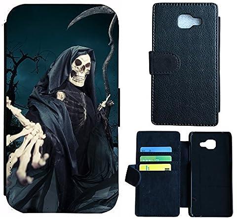 Flip Case Cover WICO Case For, Fabric Plastic, 1332 Sensenmann Totenkopf Skull Bones, Wiko Wax