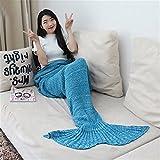 verlike tejer a mano diseño de peces de sirena cola sofá cama saco de dormir edredón manta, Dark Sky Blue, 90cm by 180cm