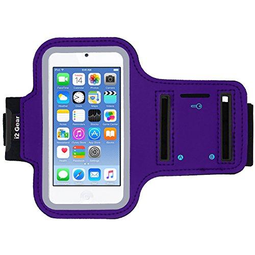 i2 Gear Armband kompatibel mit iPod Touch 6. Generation (6G) Übung & Laufender MP3-Player - Armbandetui mit Schlüsselhalter und reflektierendem Band (lila) (Ipod Armband Lila)