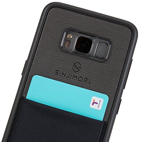 Galaxy S8 Handyhülle mit Kartenfach, Sinjimoru S8 dünnes TPU Case mit Kartenhülle / S8 Wallet Case / S8 Bumper mit aufklebbarem Kartenhalter. Sinji Pouch Case für Samsung Galaxy S8, Schwarz. Schwarz für Galaxy s8
