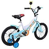 MuGuang 16 Pollici Bicicletta da Bambina Bicicletta per Bambino Studio apprendimento Equitazione Bici Ragazzi Ragazze Bicicletta con stabilizzanti per 4-8 Anni (Blu)