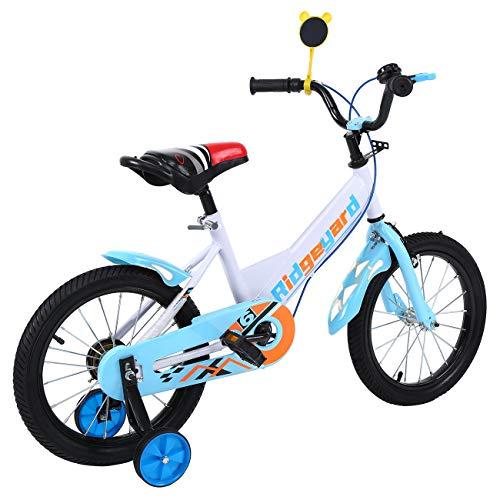 Ridgeyard 16 Zoll Kinder Fahrrad Kinder Fahrrad Lernen Reiten Fahrrad Jungen Mädchen Fahrrad mit Stabilisatoren für 3-5 Jahre (Blau)